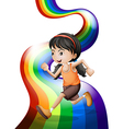 A rainbow with a young woman running vector image vector image