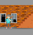 a trouble boy break the window vector image vector image