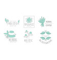 alternative medicine logo design set herbal vector image vector image