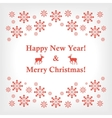 banner or card with snowflakes and reindeer vector image vector image