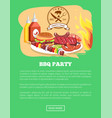 bbq party website and button vector image vector image