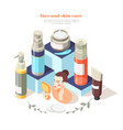 beauty preparations isometric composition vector image