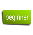 beginner green paper sign on white background vector image vector image