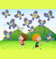 boy and girl catching butterflies with numbers vector image vector image