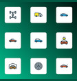 car icons colored line set with sport wheel vector image vector image