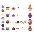cartoon color create your cupcake concept icon set vector image vector image