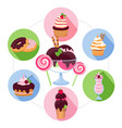 cartoon sweet products concept vector image vector image