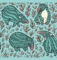 cartoon tapirs seamless pattern green tapirs vector image vector image