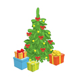christmas tree with gift boxes vector image vector image