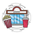 cinema with popcorn and soda snack vector image