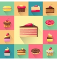 Confectionery set of isolated cakes icons with vector image