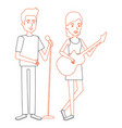 couple singing with microphone and playing guitar vector image vector image