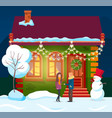 couple standing home with garlands and wreath vector image vector image