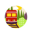creative landscape with railroad and train in logo vector image vector image