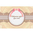 cute elegant vintage bohemian lace card background vector image vector image