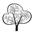dark single silhouette shape a floral tree vector image