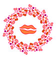 day of kisses circular frame vector image vector image