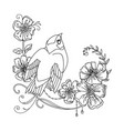 decorative bird with abstract flowers vector image vector image