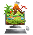 Dinosaur on computer screen vector image vector image