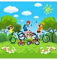 family with kids concept cycling in park vector image