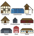 Farm Buildings Flat Icons vector image