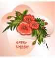 Floral composition Bouquet of red flowers on soft vector image