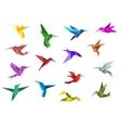 Flying origami hummingbirds or colibri birds vector image vector image