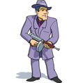 gangster with tommy gun vector image vector image