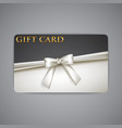 gift card with white bow and ribbon vector image