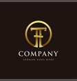 gold letter th logo icon letter ht logo icon vector image vector image
