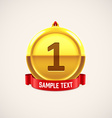 gold medal with red ribbon eps 10 vector image vector image