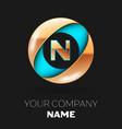 golden letter n logo symbol in blue-golden circle vector image