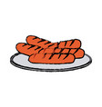 grilled sausages on a plate fast food vector image vector image