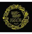 Hand drawn circle frame design vector image