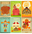 Happy Thanksgiving Greeting Card Set vector image vector image