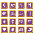 human organs icons set purple vector image vector image