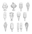 ice cream sketch icons of fresh desserts vector image vector image