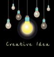 idea concept glowing light bulb vector image vector image