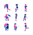 isometric characters working people touching vector image