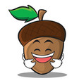 laughing acorn cartoon character style vector image vector image