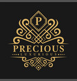 letter p logo - classic luxurious style logo vector image