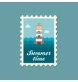 Lighthouse flat stamp summertime vector image