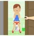 male hand opening bathroom door vector image
