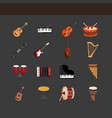 musical instruments string wind percussion icons vector image