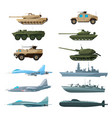 naval vehicles airplanes and different warships vector image vector image