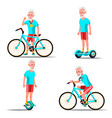 old man riding hoverboard bicycle city vector image