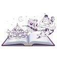Open book story tale Magic lamp Aladdin Arab vector image