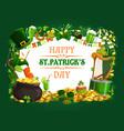patricks day green shamrock beer leprechaun gold vector image vector image