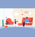 people at home father son daughter in living room vector image vector image