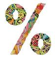 percent sign zentangle decorative unusual vector image vector image